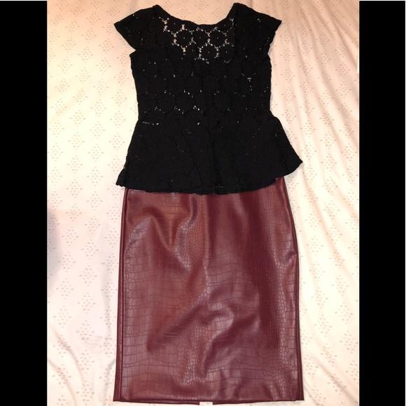 b10eeac1 Skirts | Nicki Minaj Faux Leather Skirt Outfit | Poshmark